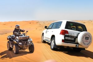 ATV QUADBIKING 30 MINUTES, DUBAI DESERT 4X4 JEEP DUNE BASHING, DINNER, CAMEL RIDE, SANDBOARDING